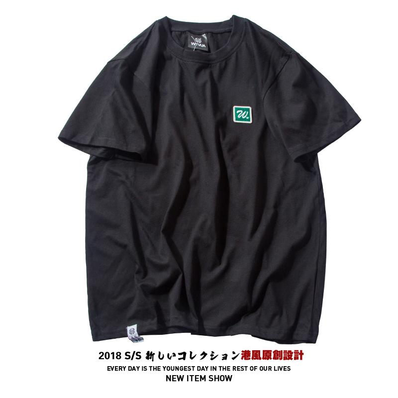 特价!日系复古刺绣T恤男短袖ulzzang情侣原宿风学生百搭修身上衣