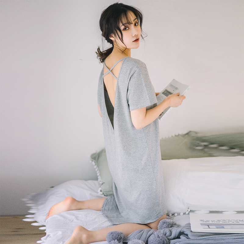 Nightdress women Summer Cotton sexy pajamas women summer short sleeve one-piece sling open back temptation spring and autumn loose can be worn out