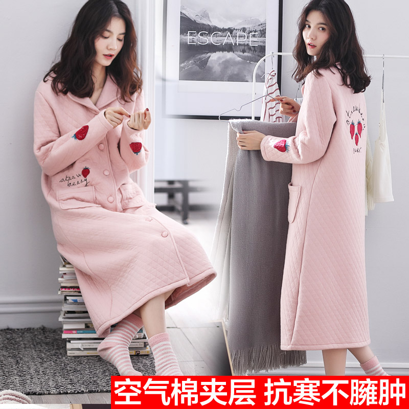 Spring and autumn Nightgown womens winter thickened medium length pajamas lovely pure cotton sandwich air layer all cotton sandwich bathrobe