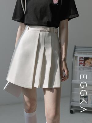taobao agent EGGKA high waist pleated skirt half-length skirt female early autumn irregular thin a-line short skirt bag hip skirt summer new style