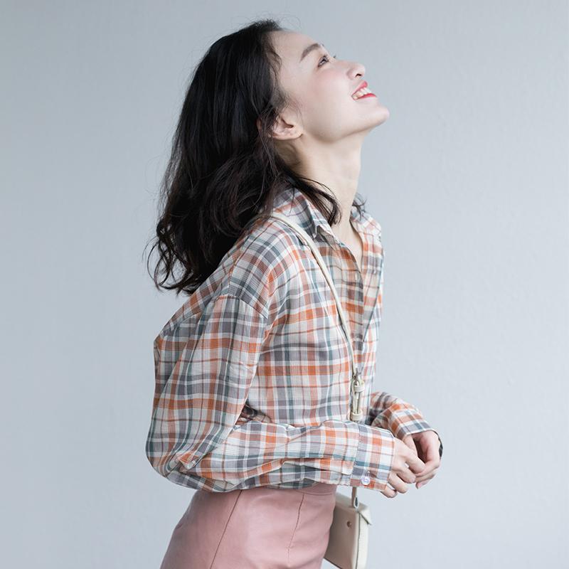 格子女复古港味长袖防晒2019衬衫满119.90元可用1元优惠券