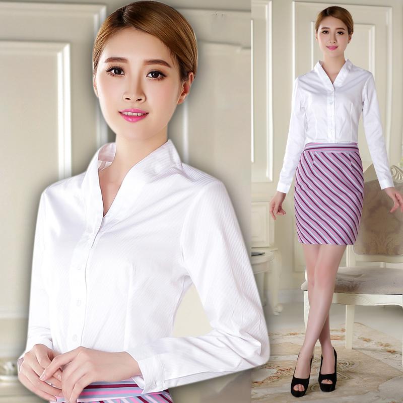 南航空姐制服白衬衫女士OL职业装V领员工工作服修身款高铁动车装