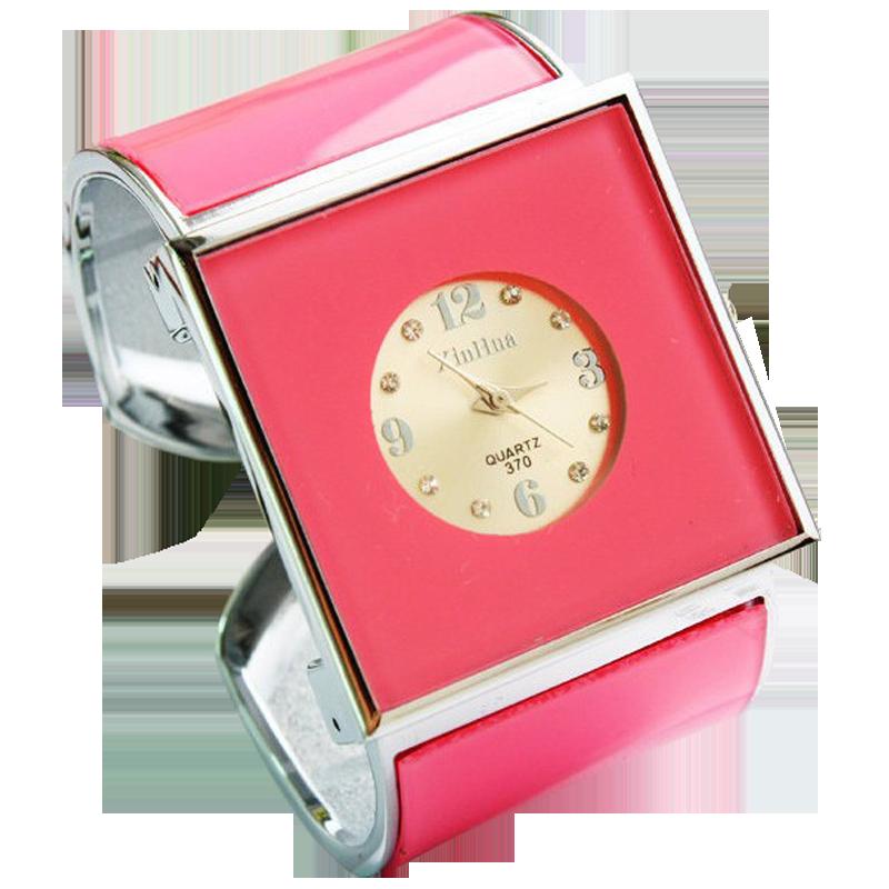 韩版流行复古水钻个性大气女学生开口式宽手镯表防水钢带石英手表