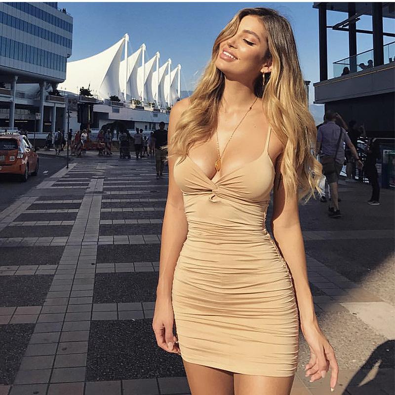 跨境爆款欧美性感抽褶紧身连衣裙夜店深V领派对迷你连衣裙女装