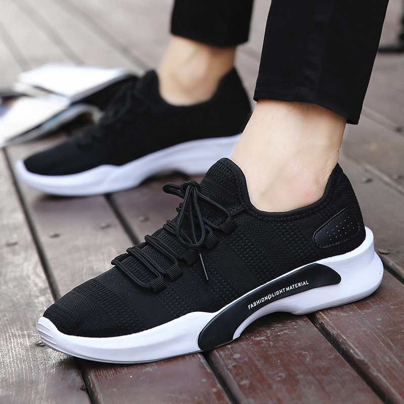 Winter new Korean fashion casual shoes mens breathable sports running shoes solid color versatile low top mens single shoes