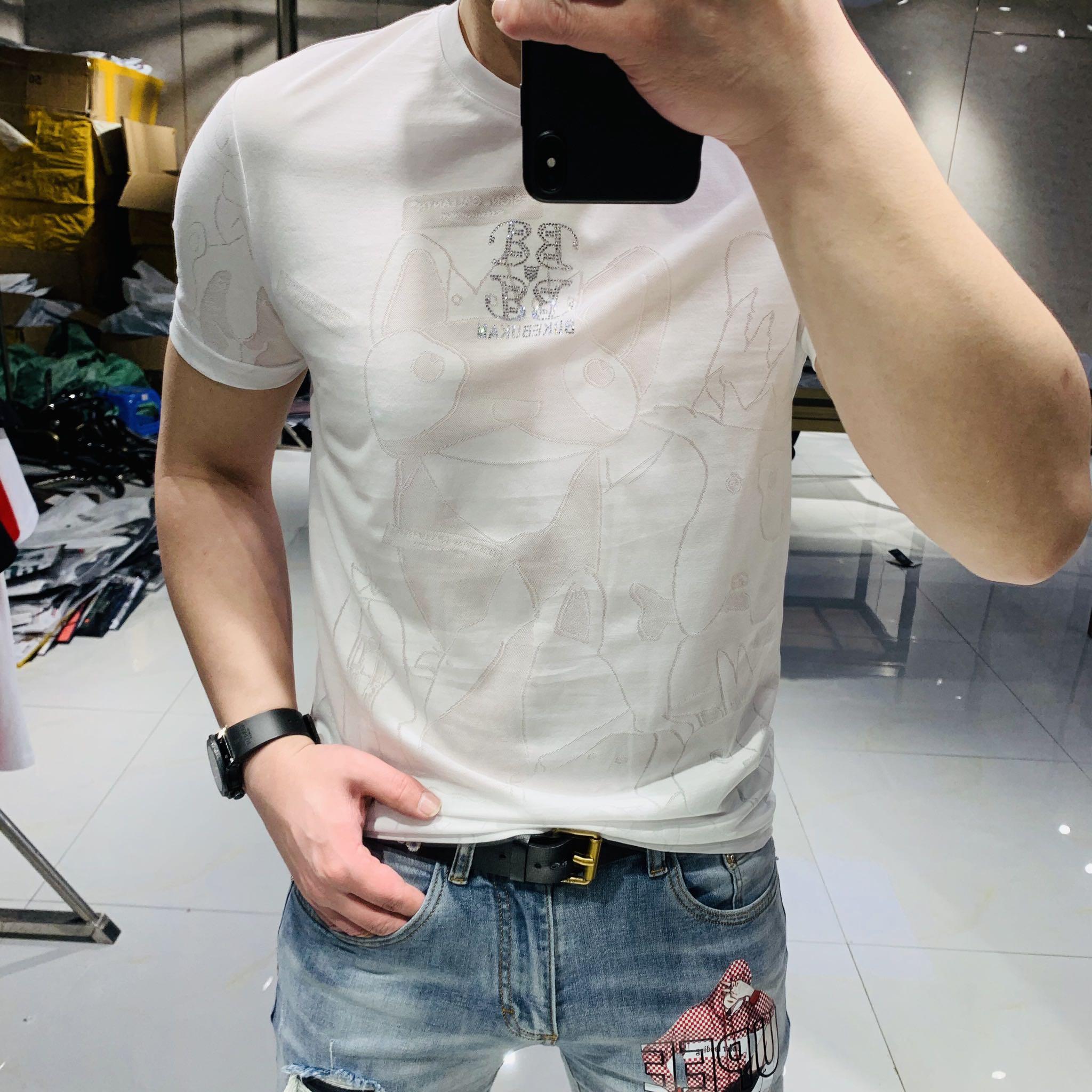 2020夏季新款欧美潮牌时尚休闲印花镂空烫钻圆领修身短袖T恤男潮