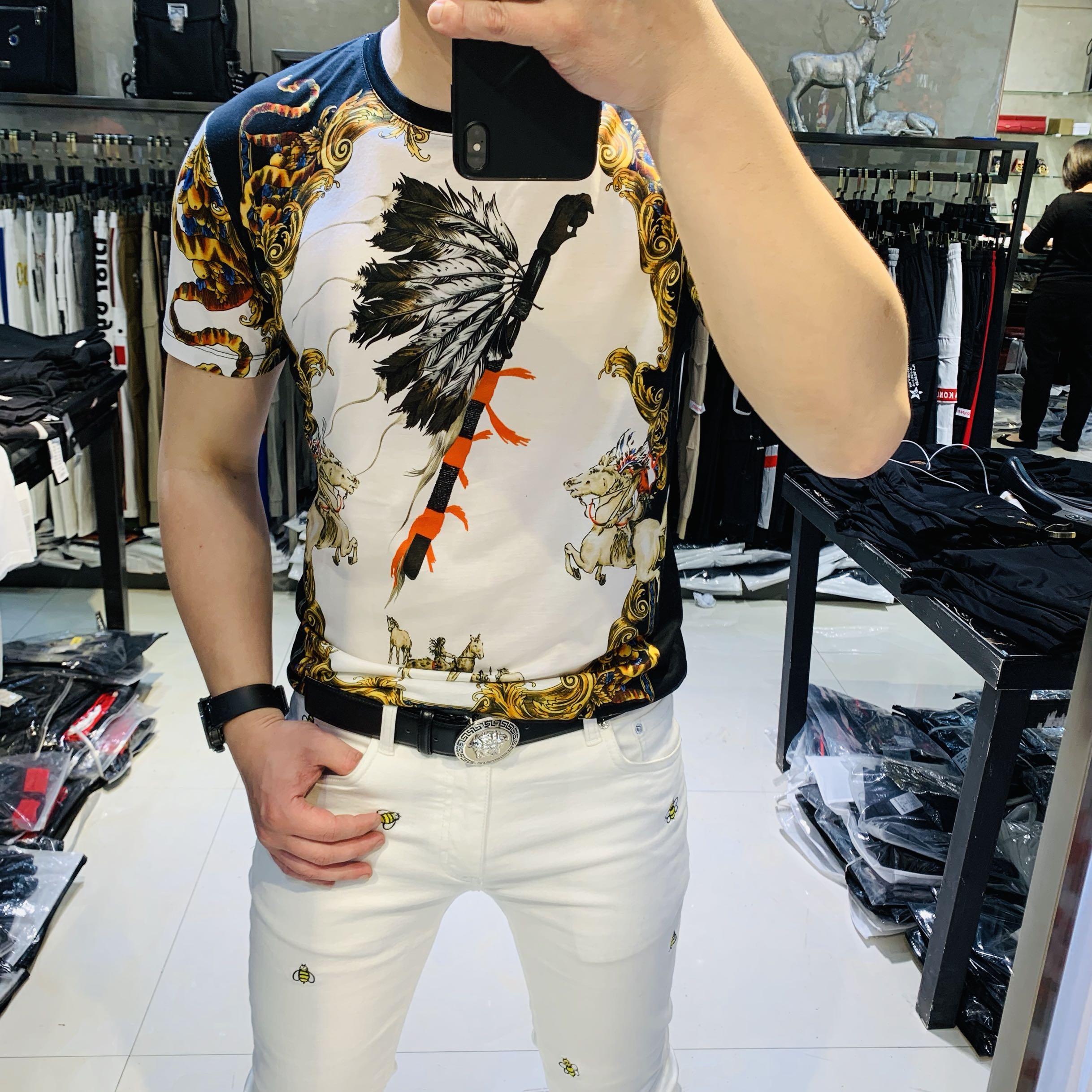 欧洲站男短袖t恤 潮流时尚数码印花上衣夏季新款修身男士半袖体恤