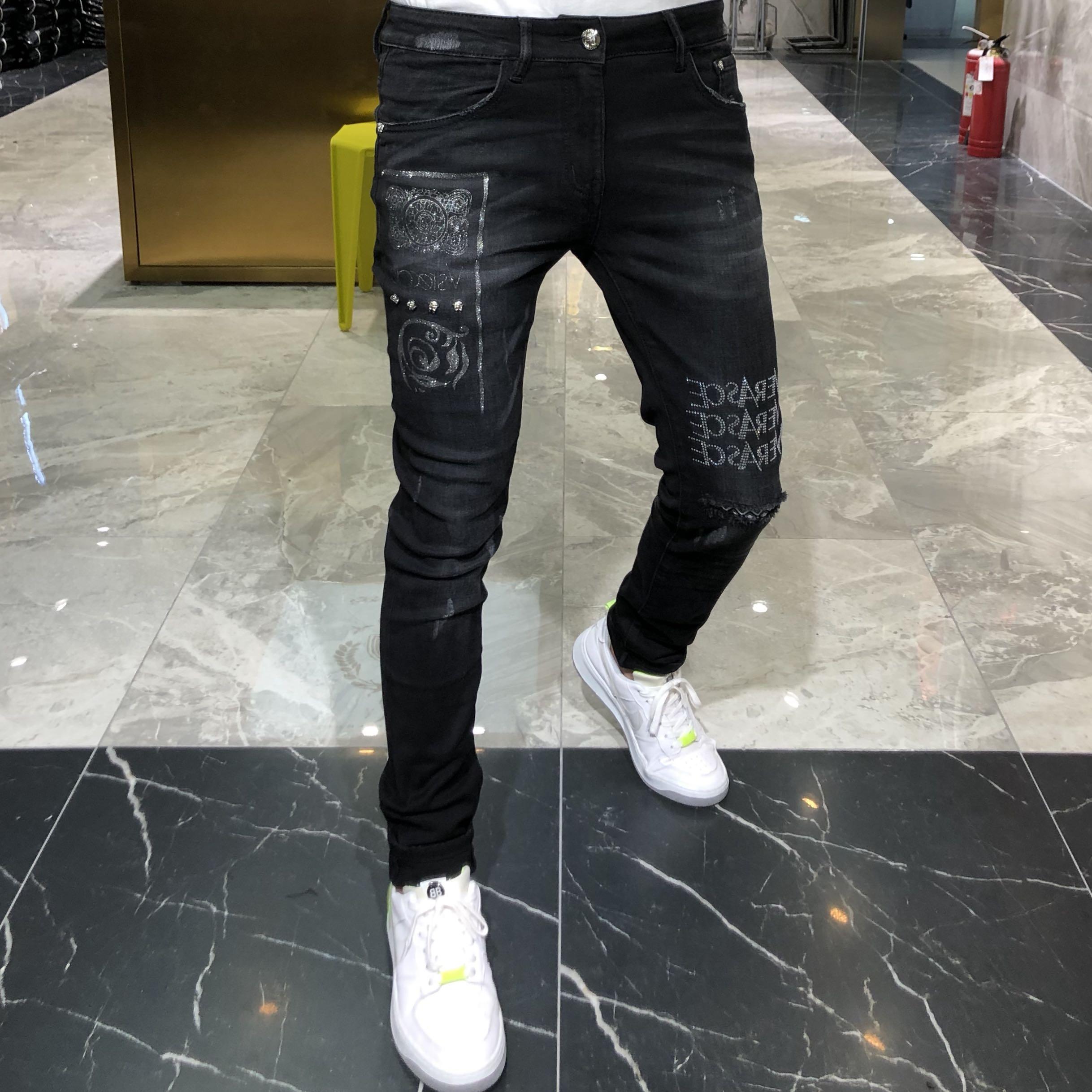 帝哲尼2020秋冬新款欧美个性潮牌修身重工烫钻黑色小脚牛仔裤男
