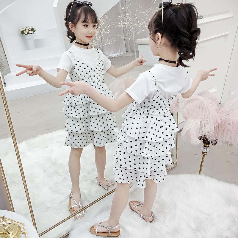 女童夏装连衣裙套装2019新款中大童时髦儿童休闲女孩短袖两件套