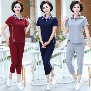 夏季款中老年女妈妈格子翻领短袖T恤上衣+七分裤纯色休闲运动套装