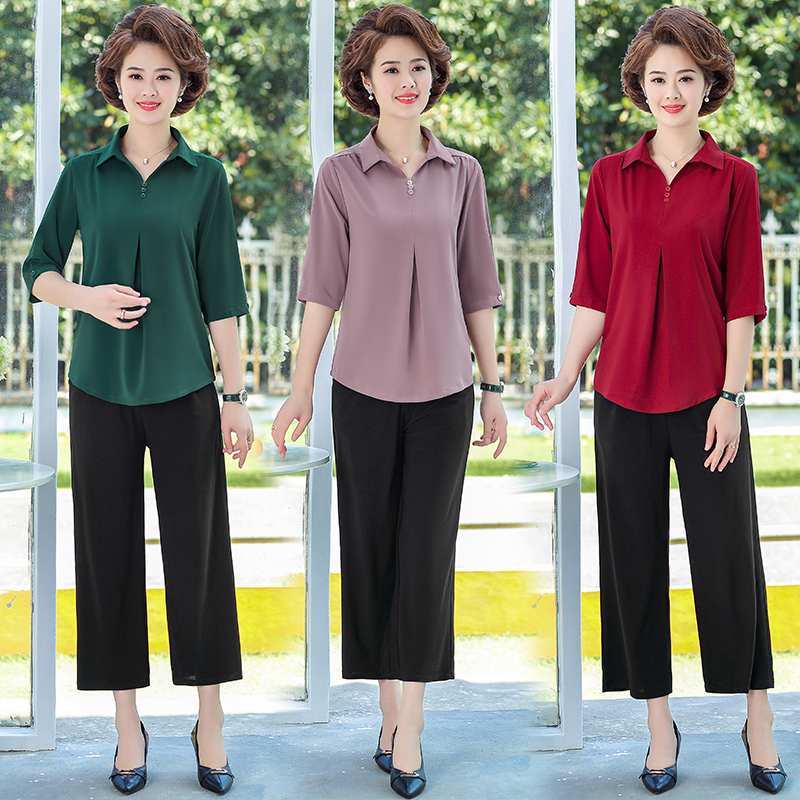 Womens 5-point medium sleeve Lapel shirt wide leg suit middle-aged and elderly mother-in-law T-Shirt Top 9-point pants width fattening