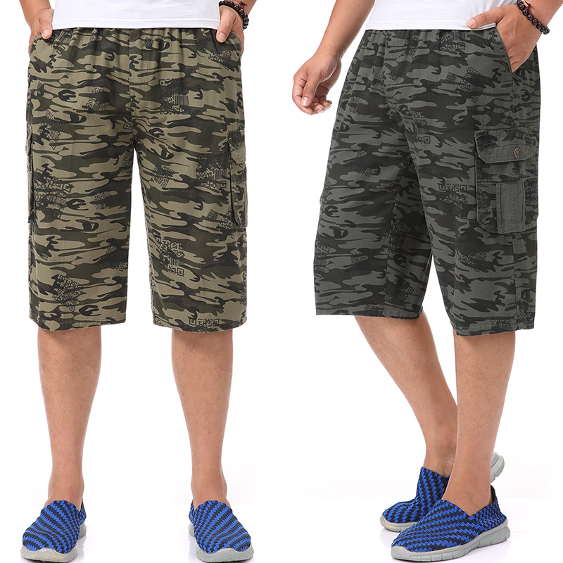 Mens cotton camouflage shorts young and middle-aged fat dad outdoor sports travel frock 5 points loose tight bag add fat increase