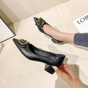 尖头单鞋女鞋春季2021粗跟中高跟黑色皮鞋低跟大码41职业工作鞋