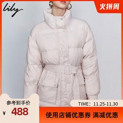 Lily2019秋冬女装轻薄羽绒服立领小个子收腰修身外套短款上衣3913