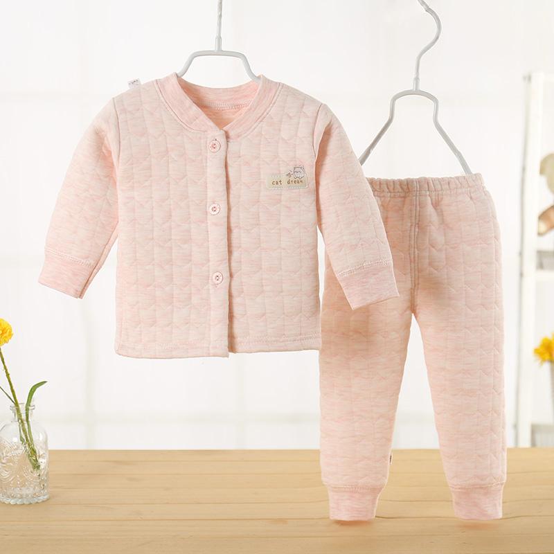 秋冬款宝宝保暖衣套装0-1-2岁婴儿长袖纯棉内衣三层保暖加厚夹棉