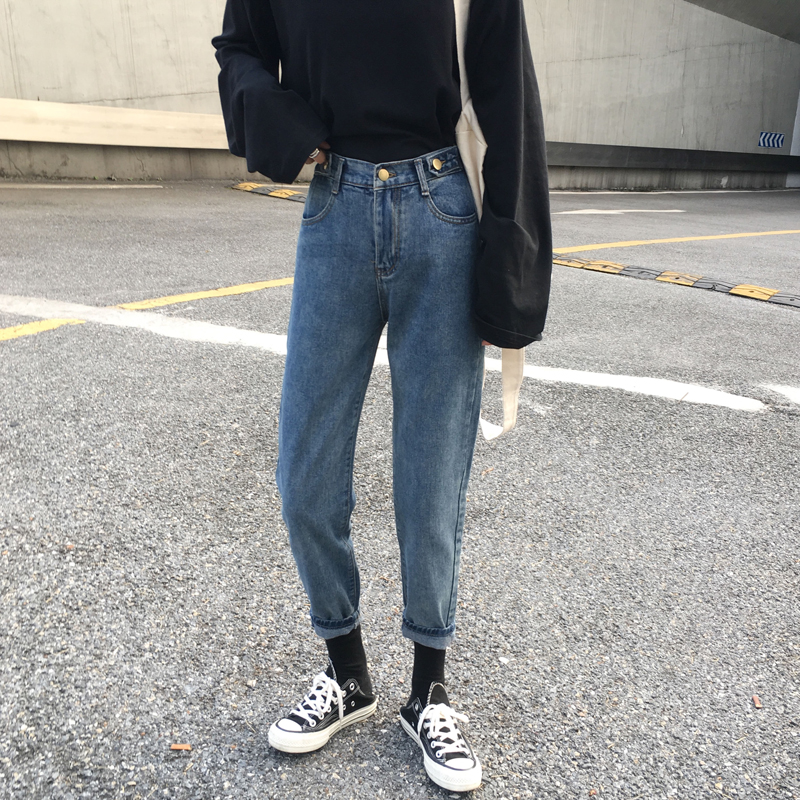 Jeans female tapered high waisted daddy pants 9-point slim legged pants Hong Kong style retro students relaxed spring and autumn 2020