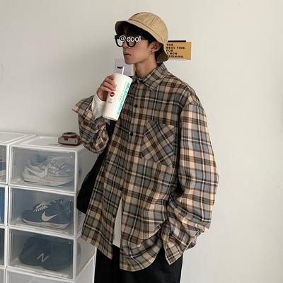 20/春韩版男装宽松格子长袖衬衣男外套宽松休闲衬衫Y801P50 控68