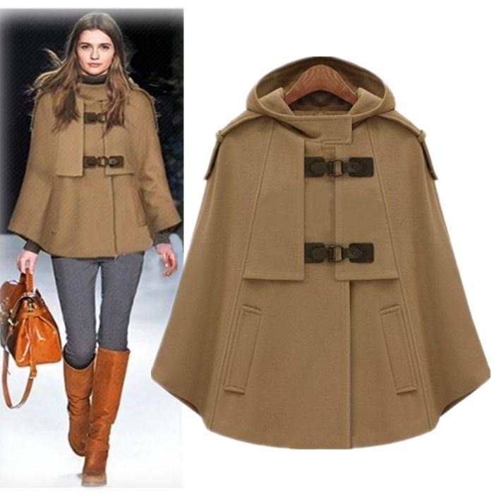欧美秋冬呢子外套 斗篷披风衣毛呢短外套英伦风女装呢大衣新款