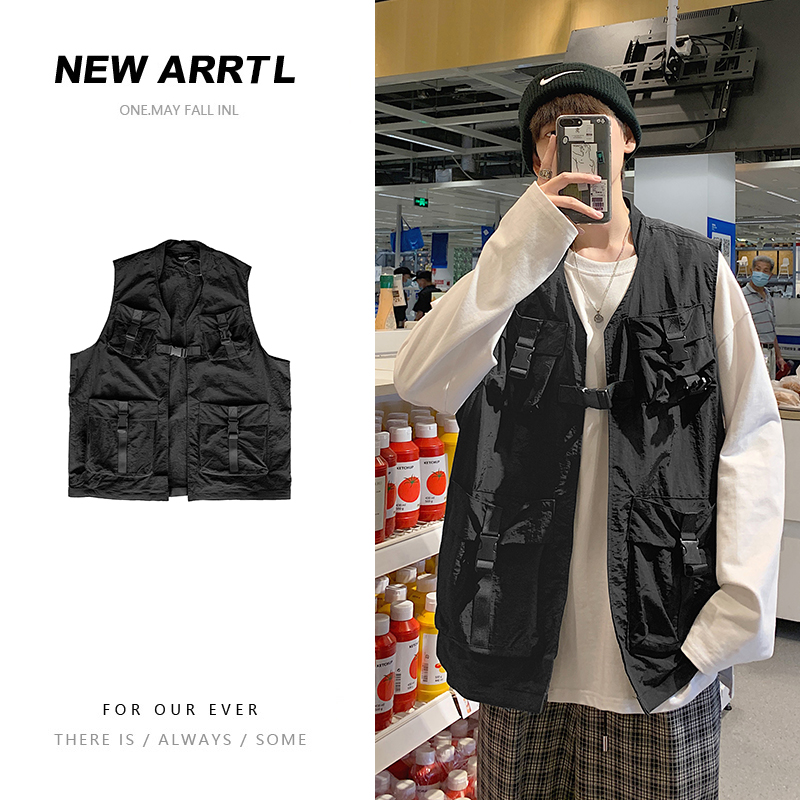 Tooling vest mens wear spring and autumn summer Japanese fashion brand horse jacket functional vest with sleeveless coat