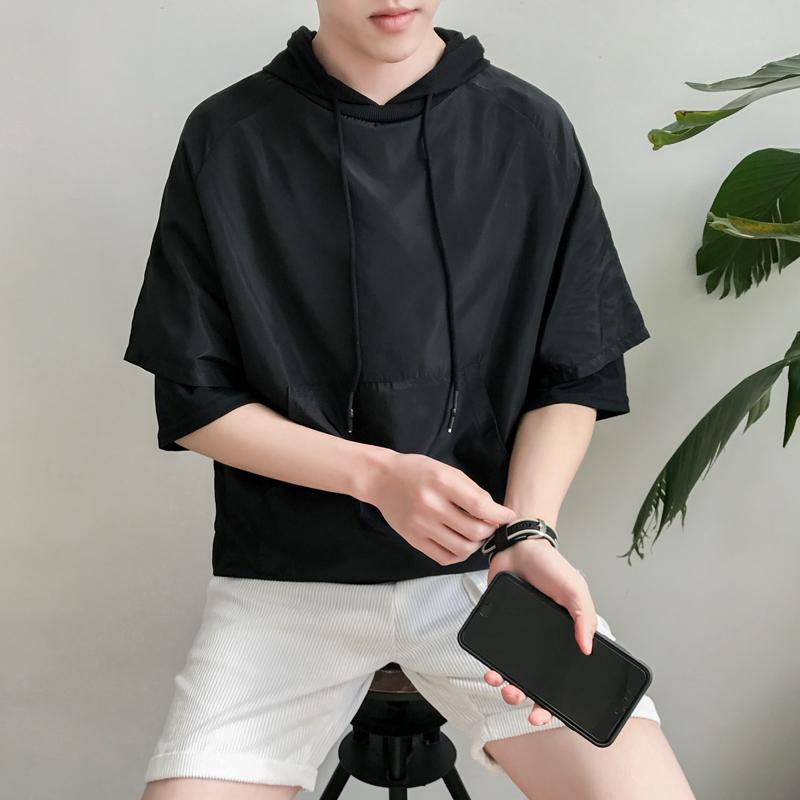 夏天男装新款港风原创大码休闲运动个性假两件套短袖带帽子卫衣服