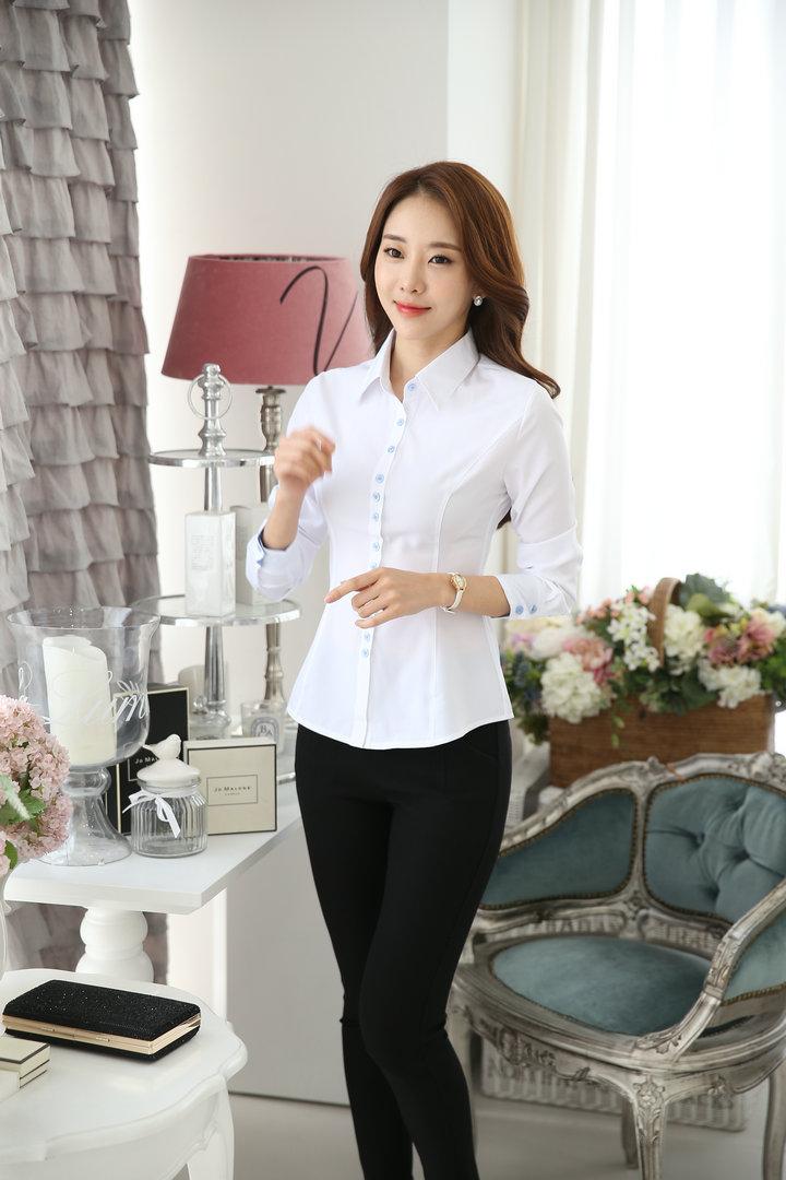 白衬衫 女长袖职业防走光翻领修身显瘦工作服 打底衫大码女装衬衣