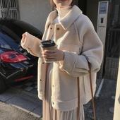 宽松毛绒夹克上衣 新款 韩版 chic羊羔毛皮毛一体外套女加厚2019冬季