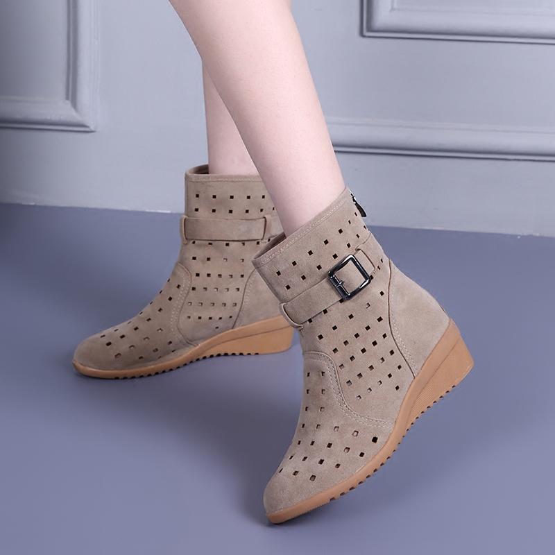 2021春季单靴镂空靴坡跟百搭夏季靴子网靴凉靴磨砂中跟休闲马丁靴