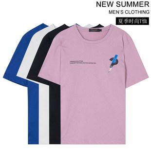 薇娅viya定制男装2019夏季新款铅笔图案简约百搭个性T恤ZZ0123