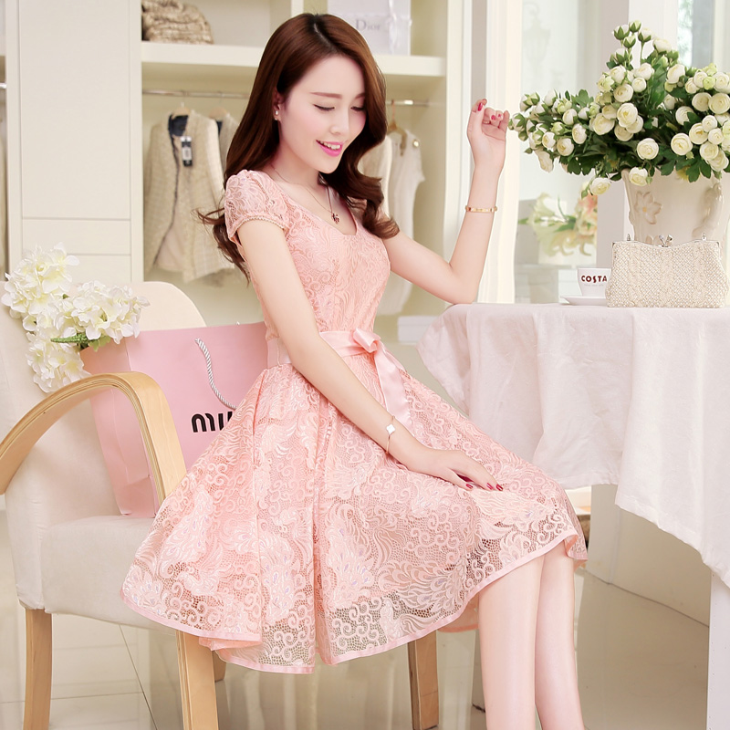 2019 summer new casual slim Dress Lady medium length Lace Chiffon summer dress