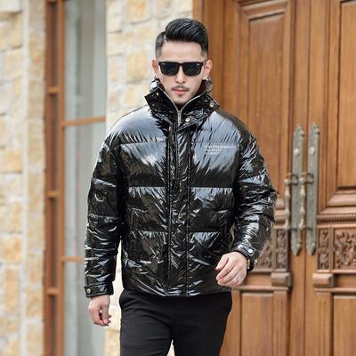 冬季新款立领短款亮面白鸭修身男士羽绒服钱塘2009货号Y118 P330