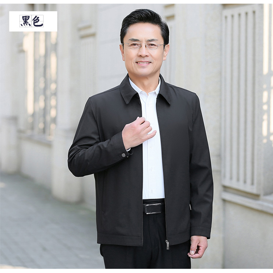 Promotion of middle-aged mens zipper thin spring mens Jacket Top fathers business leisure top Fathers coat