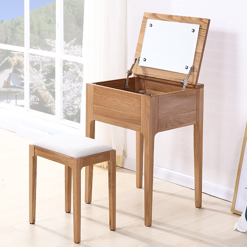 纯全实木梳妆台小户型迷你多功能化妆桌北欧简约白橡木日式变书桌