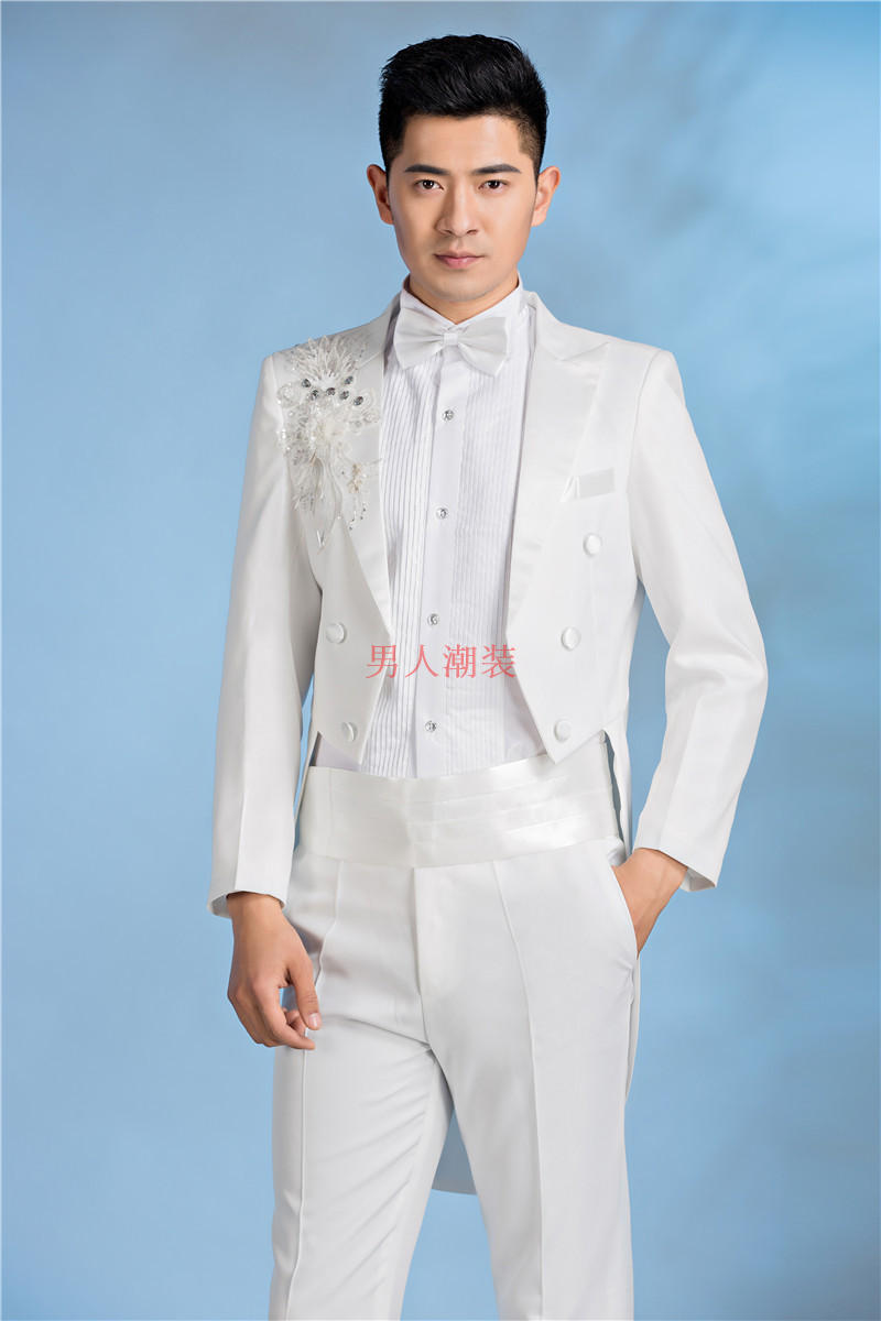 Mens white nail beads slim stage performance tuxedo conductor chorus tuxedo male host stage suit