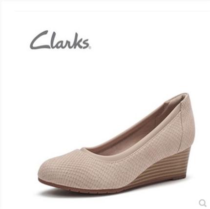 clarks其乐新款女春高跟坡跟中跟一脚蹬奶奶鞋单鞋Mallory Berry