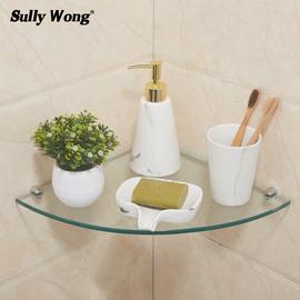 卫生间浴室卫浴20/24/30cm转角扇形三角 8mm钢化玻璃淋浴房置物架