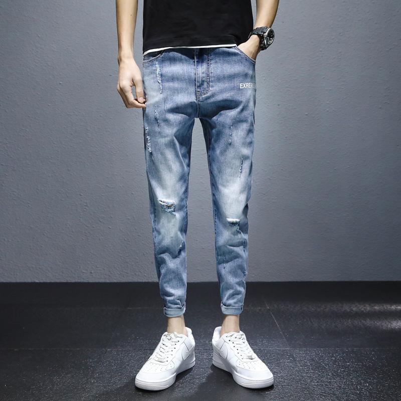 新款牛仔裤2021春季男韩版修身潮流青年百搭休闲小脚裤K3303-P55