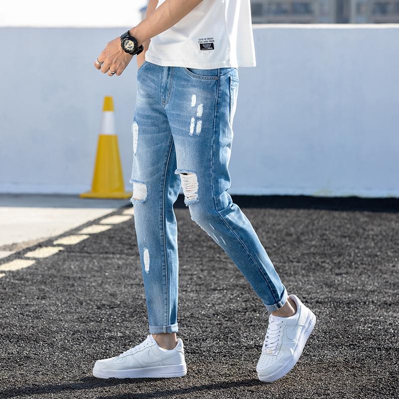 夏季新款韩版男士9分牛仔裤修身小脚破洞九分裤百搭男裤K885-P42