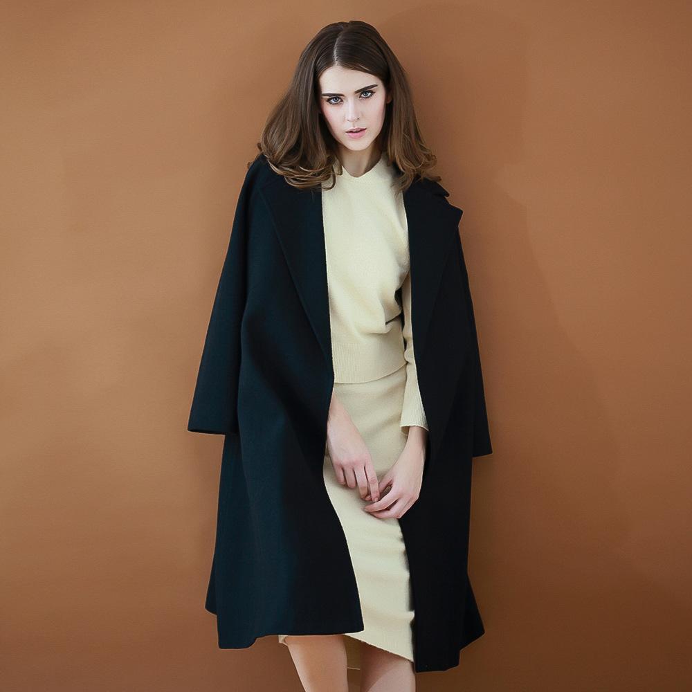 秋冬vivi新款�r尚英���L羊毛呢大衣系�Х��I收腰�L款街拍外套