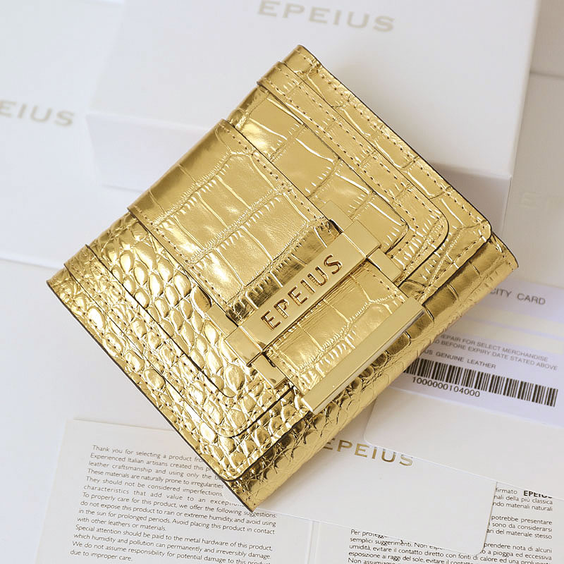Epples wallet short womens purse Genuine Leather Gold Zhaocai purse alligator ladys wallet pocket