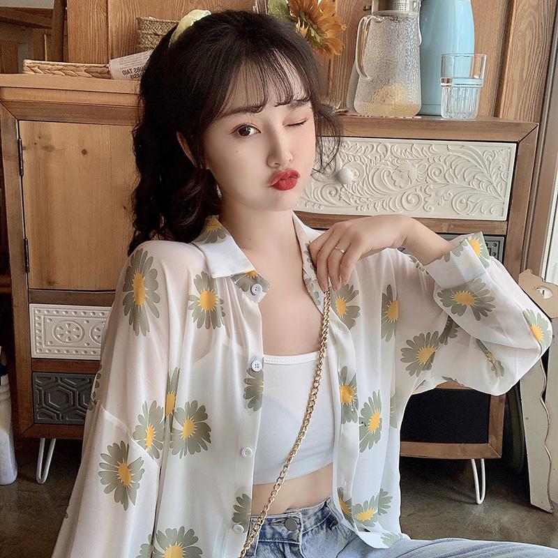 2020新款碎花小雏菊薄款雪纺衬衫女夏季防晒衣超仙的宽松空调衫潮