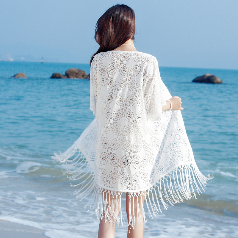 防晒衣女海滩外套温泉比基尼罩衫蕾丝开衫中长款流苏泳衣外罩披纱