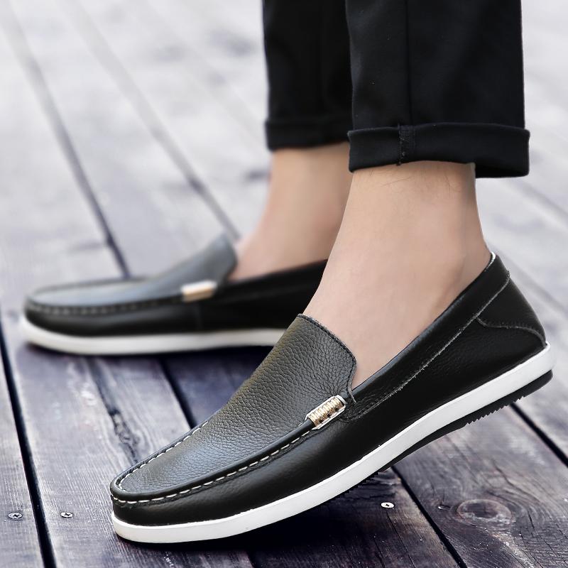 春季新款真皮男鞋日常商务休闲皮鞋软面皮百搭驾车韩版英伦男单鞋