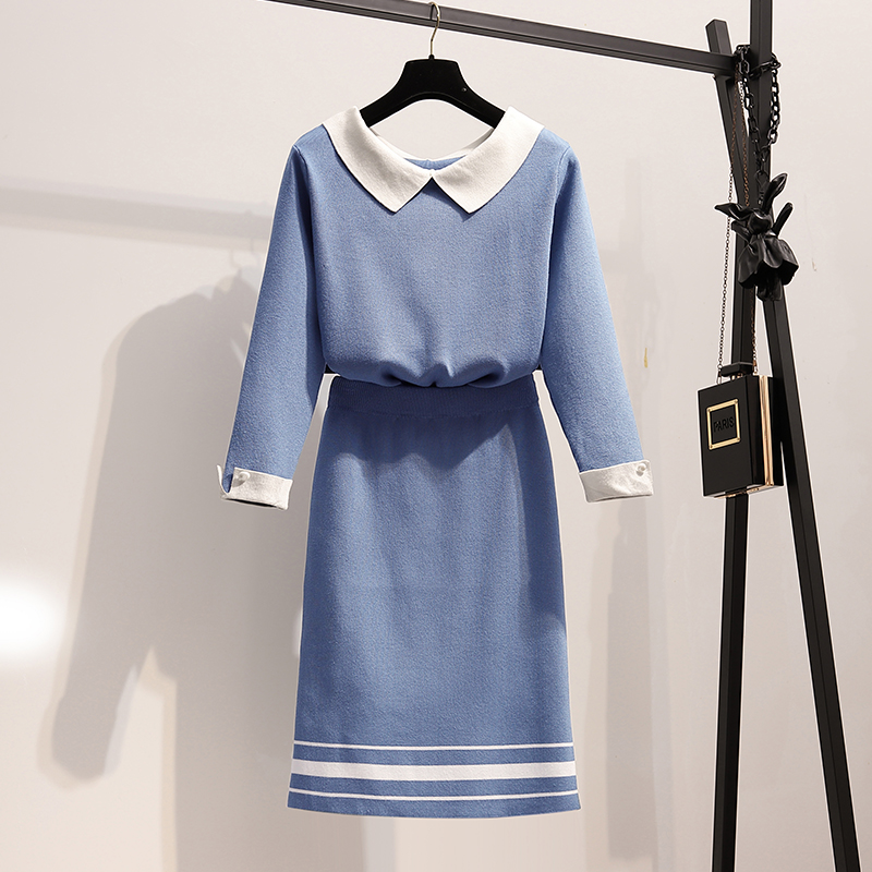 大码女装秋装2020年新款胖妹妹显瘦气质套装裙减龄洋气时髦两件套