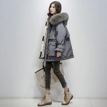 2020年冬季新款大码胖妹妹棉衣派克服加厚棉袄短款工装棉服外套女