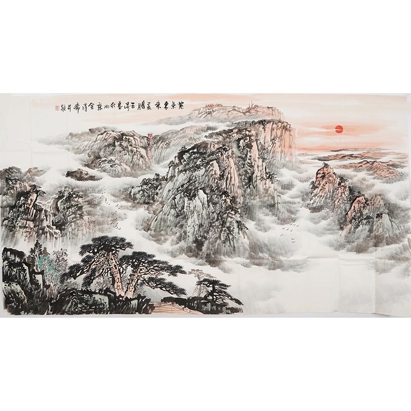 0290王涛字画客厅办公室装饰画水墨画稳如泰山手绘山水画泰山国画