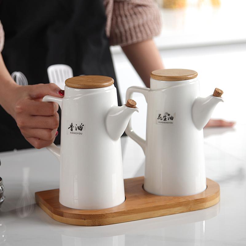 12月03日最新优惠抖音陶瓷器油壶厨房家用酱油醋炒菜油瓶日本健康不挂油不漏油套装