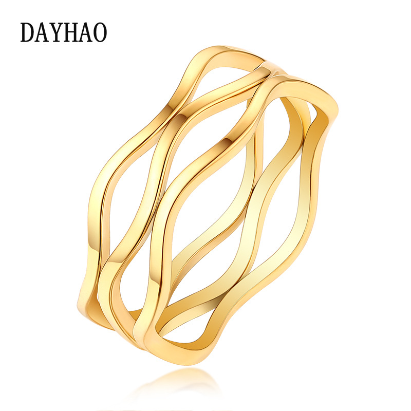 Titanium steel ring Korean version simple fashion personalized wave ring multi-layer line modeling eternal ring