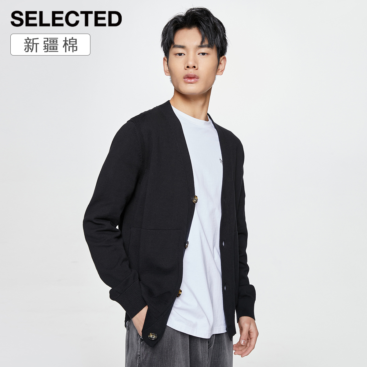 Xinjiang cotton SELECTED thinkleide male V collar buckle long sleeve solid color knit sweater R421124019