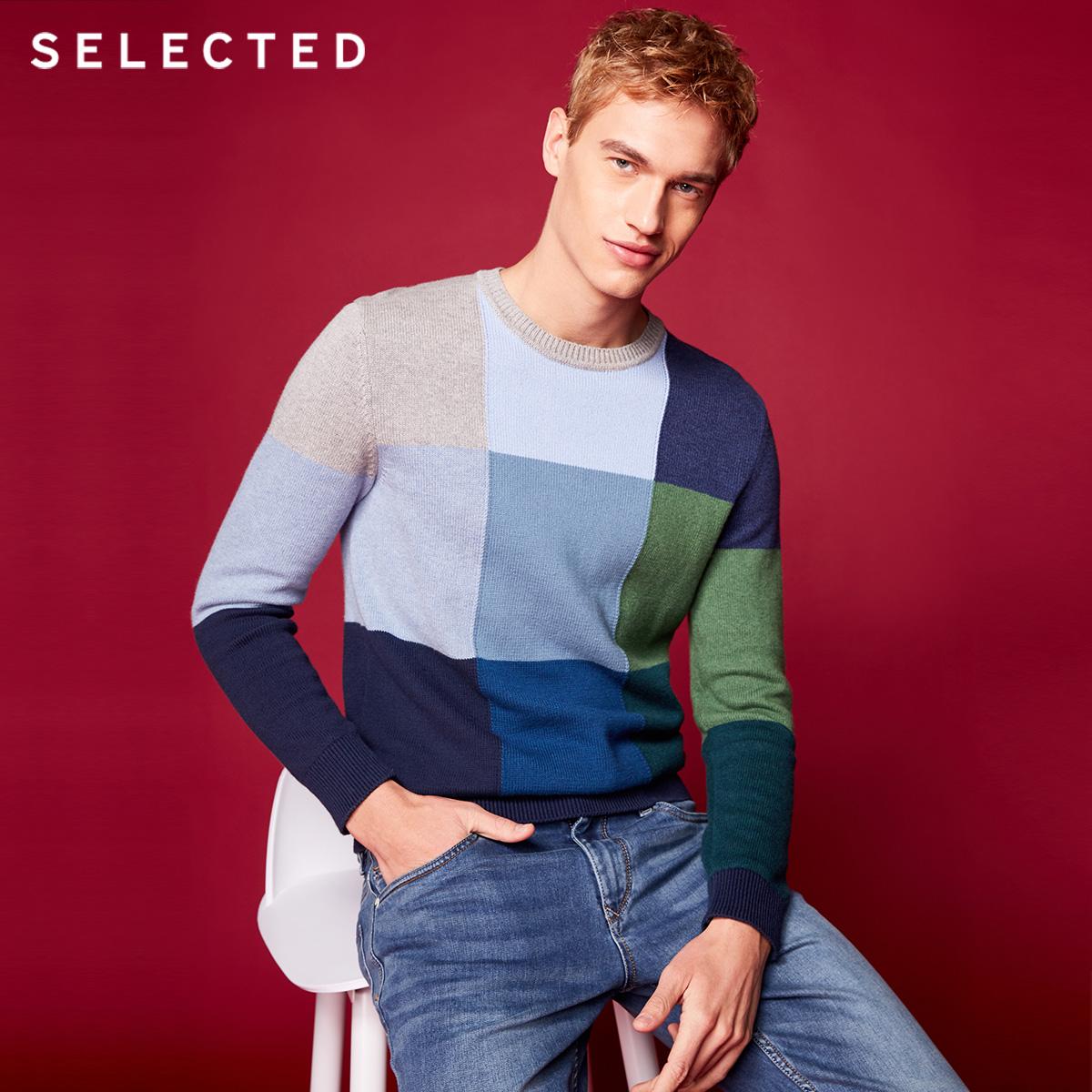 Собирать SELECTED мысль сорняки мораль новый тенденция круглый вырез смешанные цвета мода мужчина свитер свитер S|418124522