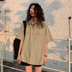 夏季短袖衬衫女韩版ins原宿风复古日系工装衬衣宽松bf学生上衣潮